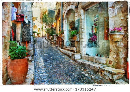charming villages of Provance, France - artwork in painting styl - stock photo