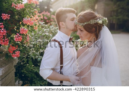 charming wedding in the old castle architecture Poland nature and the sun - stock photo
