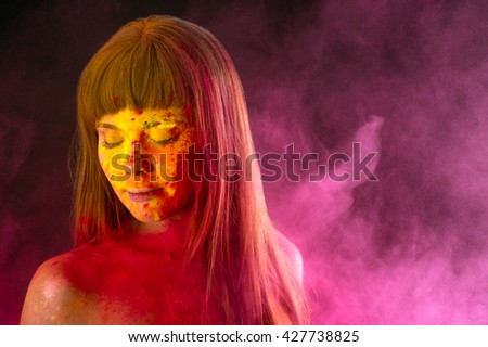 charming woman in colors Holi