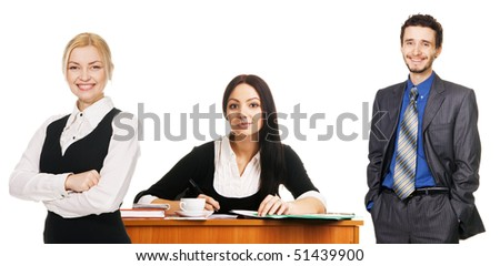 Charming young businesswoman and her team, white background