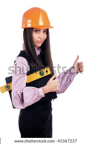 charming young businesswoman builder orange helmet is isolated on a white background - stock photo