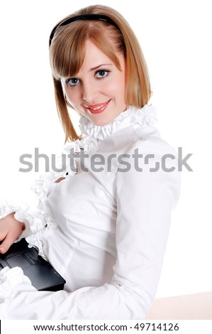 charming young businesswoman in a business suit on white background