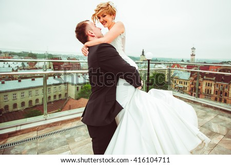 charming young couple spending time together - stock photo
