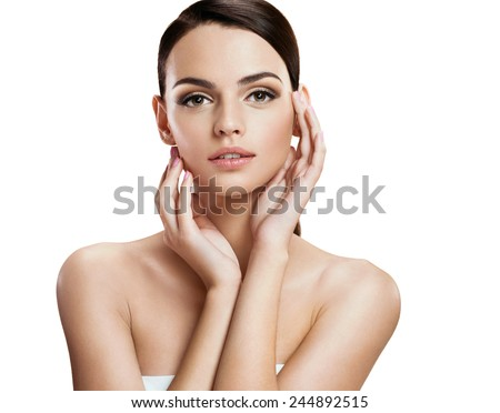 Charming young fashion model / photo-composition of brunette girl  - isolated on white background  - stock photo