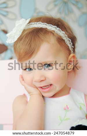 charming young lady with lace headband - stock photo