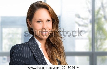 Charming young secretary portrait - stock photo