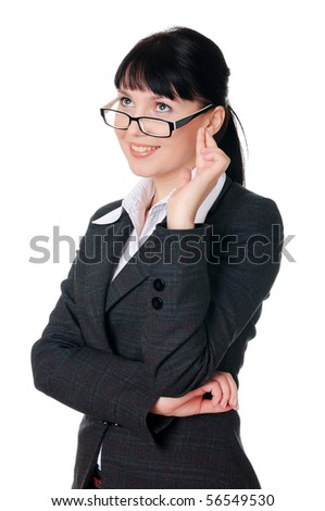 charming young woman in a dark business suit