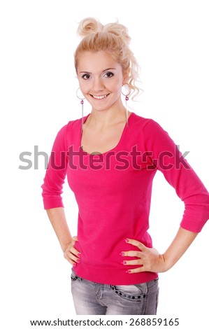 Charming young woman in red blouse jokes and laughs, it is isolated on white background. - stock photo
