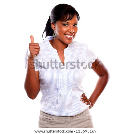 Charming young woman lifting the finger up against white background - stock photo