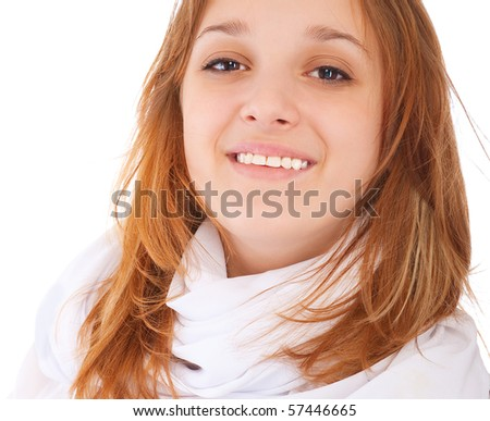 Charming young woman smiles, isolated on white background. - stock photo