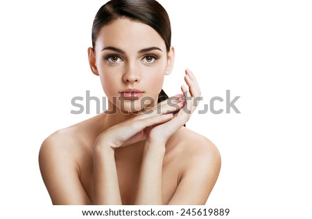 Charming young woman with perfect makeup, skin care concept / photo composition of brunette girl  - isolated on white background  - stock photo