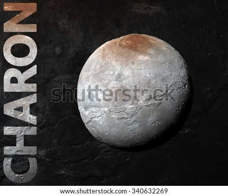 Charon is the largest of the five known moons of the dwarf planet Pluto. Retouched image. Elements of this image furnished by NASA. - stock photo