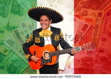 Charro Mariachi man playing guitar over mexican peso notes and flag background [ photo-illustration] - stock photo