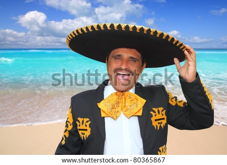 Charro mariachi man portrait shouting in Mexico Caribbean beach [Photo Illustration] - stock photo