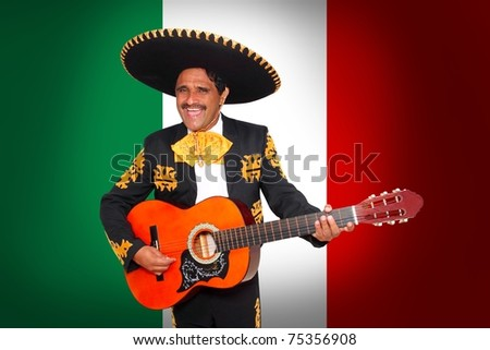 Charro Mariachi playing guitar in Mexico flag background [Photo Illustration]