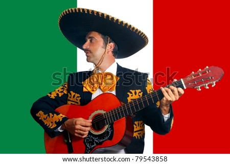 Charro Mariachi playing guitar in Mexico flag background [Photo Illustration] - stock photo