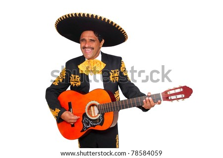 Charro mexican Mariachi playing guitar isolated on white [Photo Illustration] - stock photo