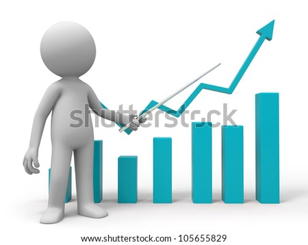 chart/A man is explaining the chart - stock photo
