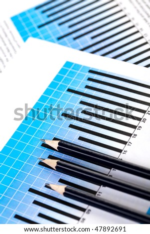 Chart and Pencil - stock photo