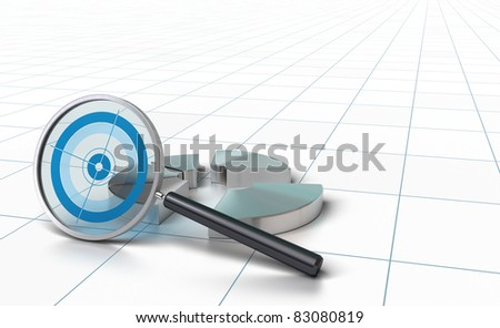 chart and special magnifying glass onto a perspective background - stock photo