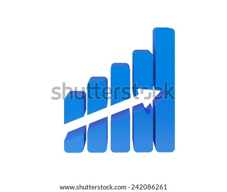 chart arrow 3d - stock photo