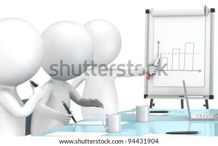 Chart. 3D little human characters X3 during a Presentation on a Flip Chart. Business People series. - stock photo