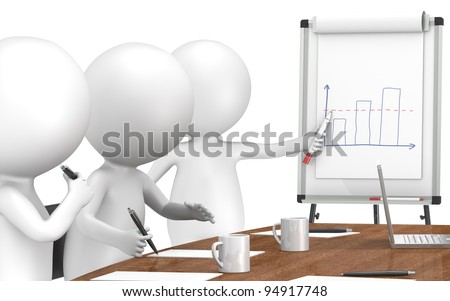 Chart. 3D little human characters X3 during a Presentation on a Flip Chart. Business People series: Classic - stock photo