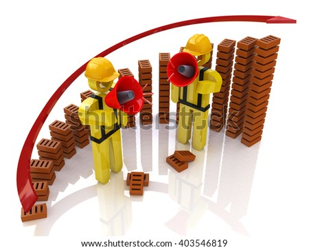 Chart development of construction industry - Construction concept.3D Illustration - stock photo