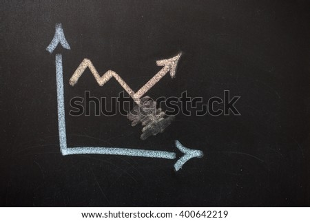 Chart drawn on a board. On the schedule: erased arrow that goes down, and fixed an arrow that goes down. - stock photo