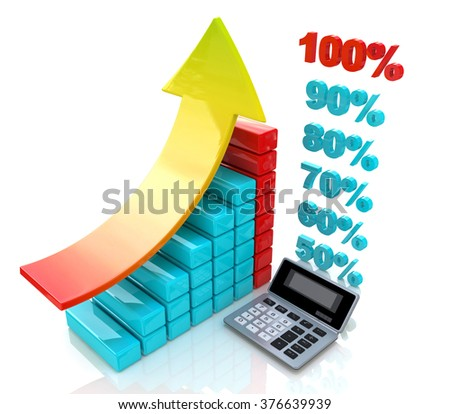 Chart economic profit when you make a design-related business and finance - stock photo