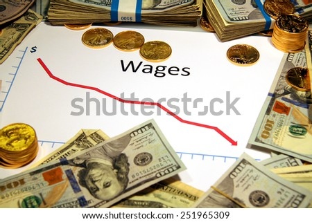 chart graph of wages going down falling with gold and money - stock photo