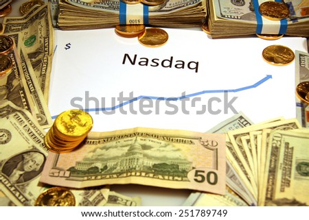 chart graph rise fall up down with gold and money of nasdaq  - stock photo