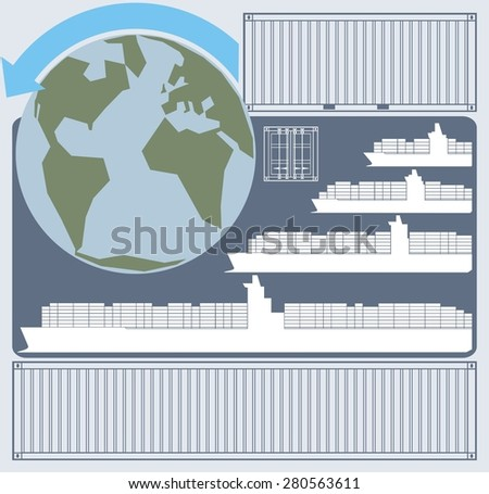Chart illustrating the economies of scale related to large container ships/vessels. Also shown are the Earth and maritime shipping containers - raster illustration. - stock photo
