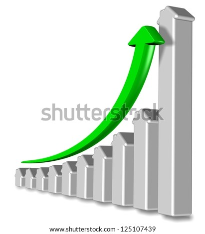 Chart made from shapes of houses with a green arrow pointing up / Property prices rising - stock photo