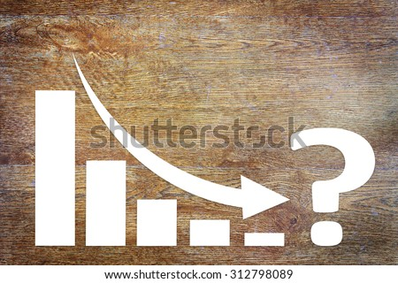 Chart of Business Decrease  Challenge With an Arrow Falling Down. Concept of Crisis With Paper Scrapbooking - stock photo