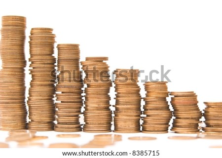 chart of coins columns isolated over white background