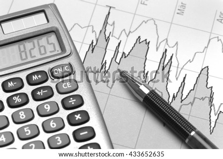 chart of financial budget calculation and stock market - stock photo