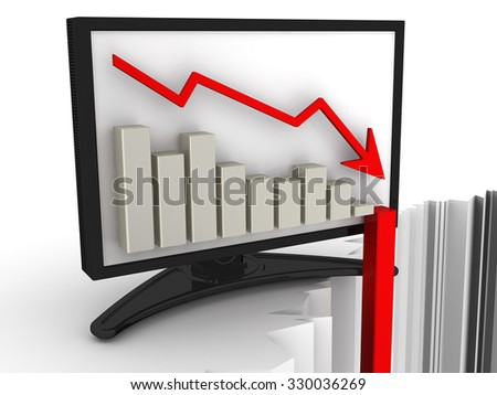 Chart of rapid fall in the monitor. Financial crisis concept. The collapse of economic indicators. The three-dimensional illustration - stock photo