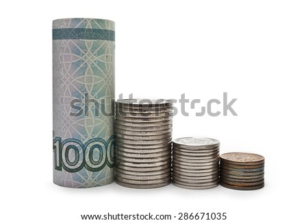 Chart of the decline of Russian money - stock photo