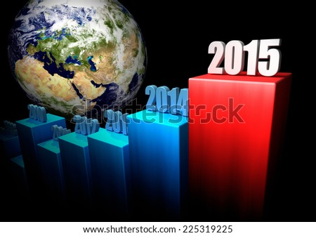 Chart of the global gains in 2015. Europe and Asia in the background. 3d render. Elements of this image furnished by NASA - stock photo