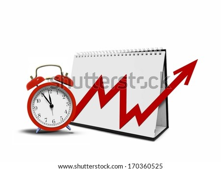 Chart on Desktop Calender and Alarm Clock - stock photo