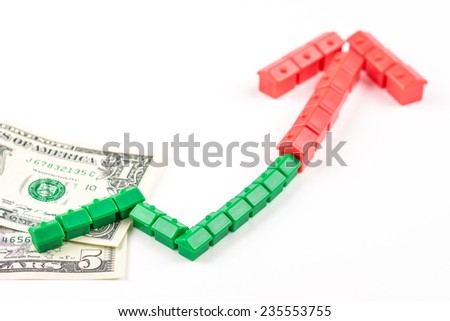 chart pattern made of miniature green and red houses is growing, business concept