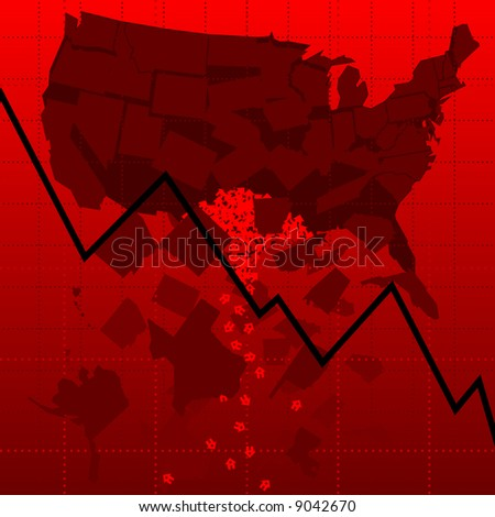 Chart representing crashing housing market in the U.S. (vector version also available) - stock photo