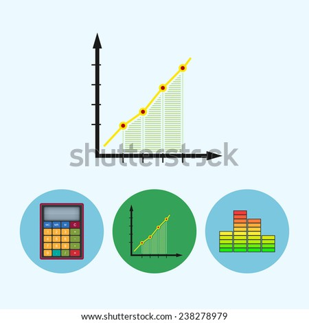 Chart .  Set from 3 round colorful icons, calculator, indicator icon, diagram icon, info graphics, chart icon - stock photo