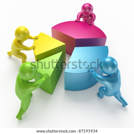 chart shift people 3d render - stock photo
