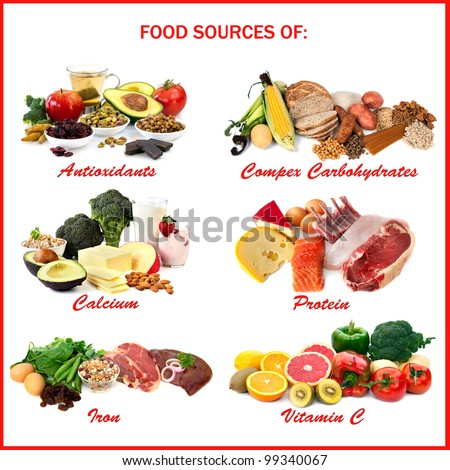 Chart Showing Food Sources Various Nutrients Stock Photo ...