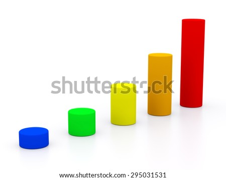 chart success of the cylinders on a white background of different colors. 3d