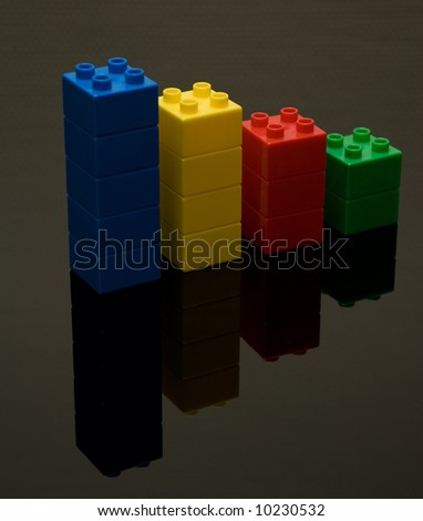 chart with colored bricks - stock photo
