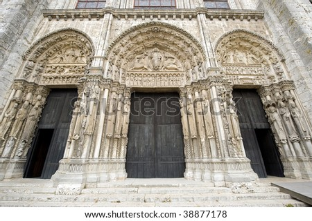 Chartres (Eure-et-Loir, Centre, France) - Portals of the cathedral in gothic style