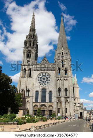 CHARTRES, FRANCE - JULY 21, 2015:  Cathedral of Our Lady of Chartres, a medieval Catholic cathedral in Chartres, France, about 80 kilometers southwest of Paris. - stock photo
